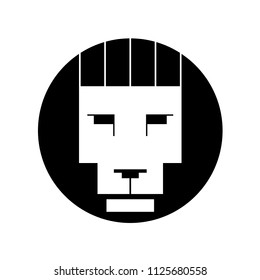 vector black and white lion head in Bauhaus style