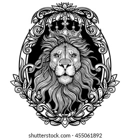 Vector Black and White Lion King Illustration