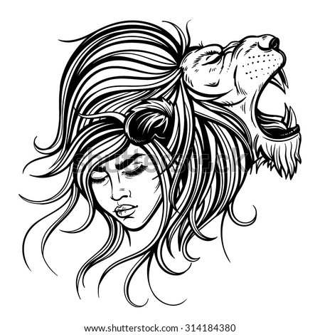 Vector Black White Lion Woman Illustration Stock Vector Royalty