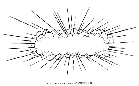 Vector black and white  long slim cartoon comic style explosion cloud blast illustration