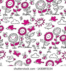 Vector black and white with magenta cartoon sunflowers, birds and bees repeat pattern. Suitable for gift wrap, textile and wallpaper.