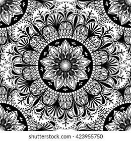 Vector Black and White Mandala Seamless Pattern