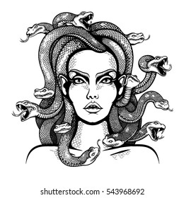 Vector Black and White Medusa Gorgon Woman Head Illustration