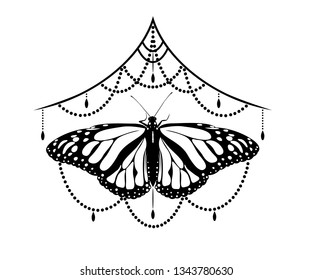 Vector black white mehendi tattoo with butterfly, under the chest.