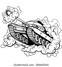 Vector Black and White Military Tank Illustration