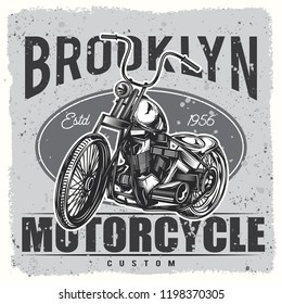 Vector black and white motorcycle illustration. Print on t-shirt or stickers