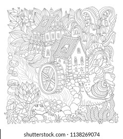 Vector black and white outline contoured fairy tale landscape, flowers, small fantasy Water Mill building, river, frog and snail on a white background. T shirt print. Adults and children Coloring Book