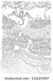 Vector black and white outline contoured fantasy landscape, fairy tale small town buildings, church on the river bank, dragon, angels and demons in the sky. T shirt print. Adults Coloring Book page