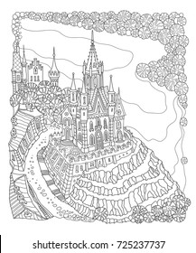Vector black and white outline contoured fantasy landscape, fairy small town buildings, river, street, castle and palace on white background.T shirt print. Adults and children Coloring Book page.Batik