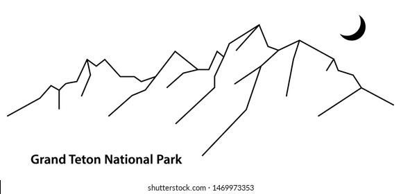 Vector black and white an outline illustration of The Grand Teton National Park, Wyoming, USA. Isolated black lines silhouette of mountains on white background for plotter cutting or print. - Vector
