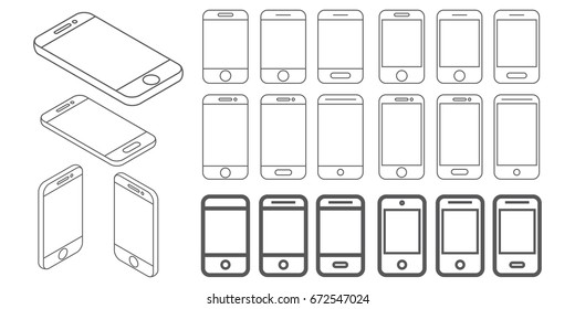 vector black and white outline smartphone simple icons set. touchscreen phone symbols collection with flat and isometrics style.
