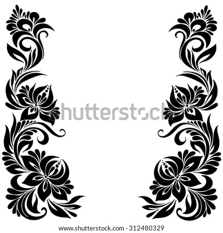 Vector Black White Pattern Flowers Ethnic Stockvector Rechtenvrij