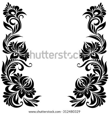 Vector Black White Pattern Flowers Ethnic Stockvector Rechtenvrij