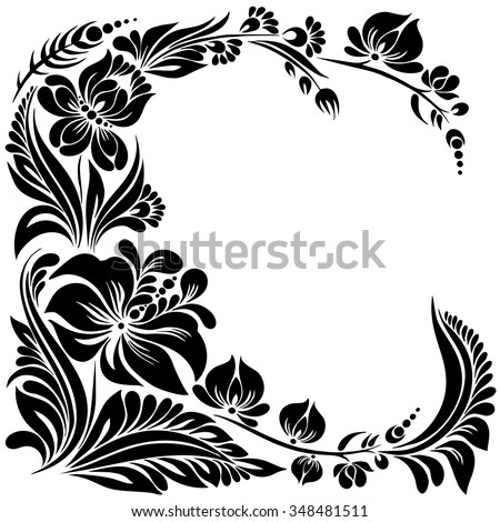 Vector Black White Pattern Flowers Ethnic Stock Vector Royalty Free