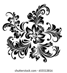Vector black and white pattern of stylized flowers in folk style for design, decorative floral ornament in ethno style