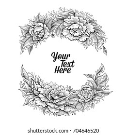 Vector Black and White Peony Flower Frame