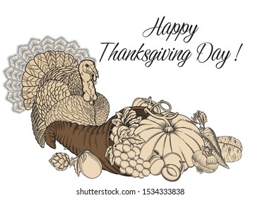 Vector black and white picture illustration cornucopia, vegetables, fruits, turkey.Thanksgiving day October holiday greeting card.Art Horn of plenty  with harvest and turkey in sketch outline style.