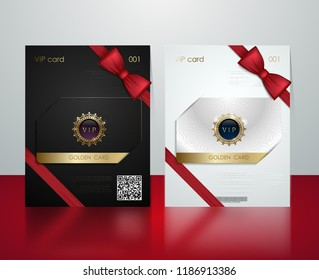 Vector black and white plastic vip card presentation golden frame. Membership or discount card. Luxury club ticket silver coupon. Vip jewel card on glossy background. Gift card voucher red bow ribbon