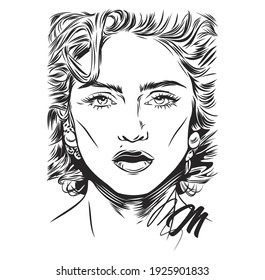 Vector black and white portrait of the singer Madonna. A beautiful female look from under her lashes.