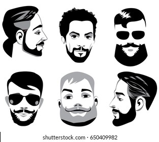 vector black and white portraits of face men with beard, bearded man, face men, logotype for barbershop