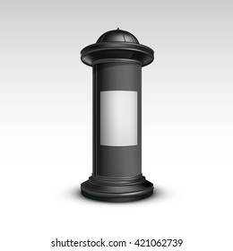 Vector Black White Poster Stand Pillar for Outdoor Advertising Isolated on White Background