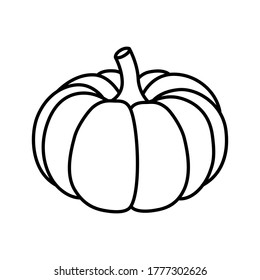 Vector black and white pumpkin icon in a flat style. The illustration is suitable for decorating a Halloween holiday, menu, food.