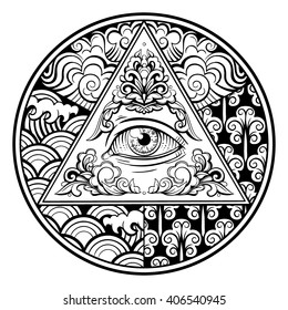 Vector Black and White Pyramid Eye Circle Illustration