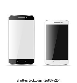 Vector black and white realistic mobile phones, modern digital devices