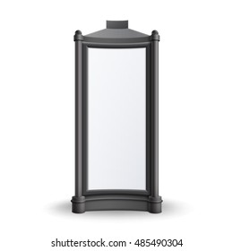 Vector Black White Rectangular Retro Poster Stands Pillar for Outdoor Advertising Front View Isolated on Background
