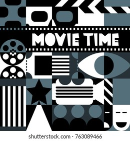 Vector black and white retro cinema concept. Design elements and background for movie festival poster, entrance ticket, flyer. Trendy geometric pattern for fashion textile prints, fabric.