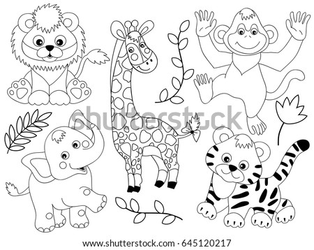 Vector Black White Safari Animals Jungle Stock Vector Royalty Free