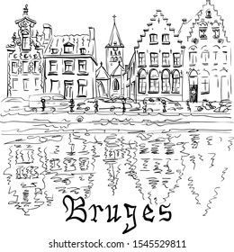 Vector black and white scenic city view of Bruges canal with beautiful medieval houses, Belgium