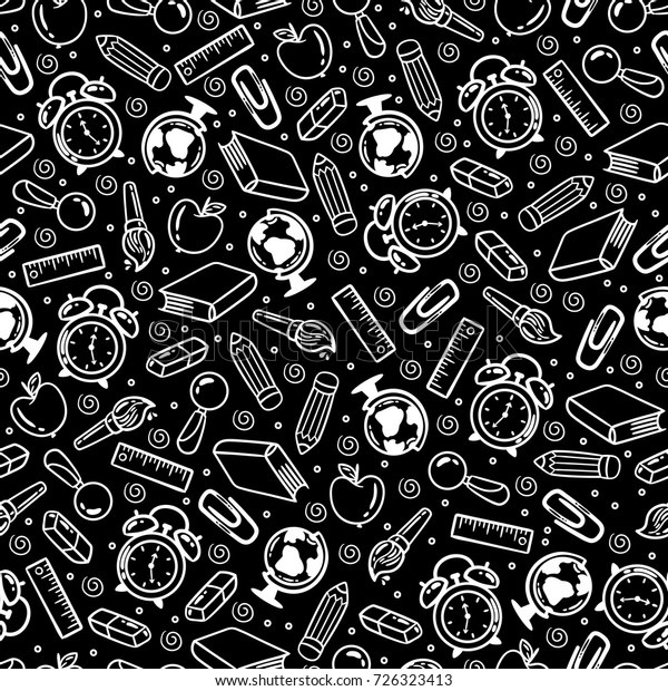 Vector Black White Seamless Cartoon Pattern Stock Vector