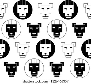 vector black and white seamless pattern of heads of lions and lionesses in the style of the Bauhaus. It can be used as wallpaper, textiles, bedding, table cloth, shirt, packing paper.