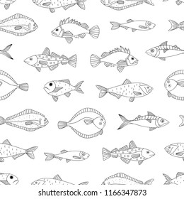 Vector black and white seamless pattern of sea fish. Monochrome repeating background with halibut, rock-fish, mackerel, herring, flatfish, sprat, grouper, cod. Underwater illustration.
