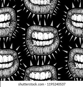 Vector black and white seamless pattern of punk lips. Hand drawn bitten lips in the style of the of punk flyers and posters with sharp spikes bursting .