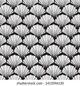 Vector black and white seashells repeat pattern. Suitable for gift wrap, textile and wallpaper.
