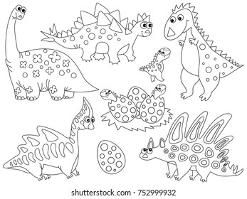 Vector Black And White Set With Cute Cartoon Dinosaurs Eggs Babies Hatching