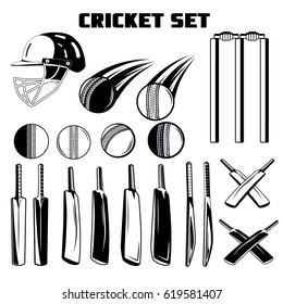Vector black and white set of game cricket bats, balls, helmet for your design, logo, print, web on a white background