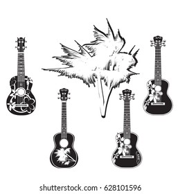 Vector black and white set of hawaiian guitars. Traditional and electric ukulele, string plucked musical instruments isolated in flat style.