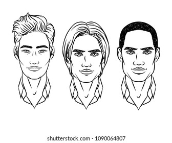 Vector black and white set of men's faces different nationalities. Asian, european, african American type of people appearance. Avatar for different races men