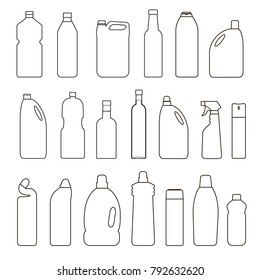 Vector black and white set of outline illustration bottles, cans, container isolated on white background. Thin line icon.