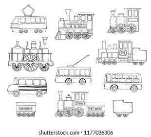 Vector black and white set of retro engines and public transport. Vector illustration of vintage trains, bus, tram, trolleybus isolated on white background. Illustration of old means of transport