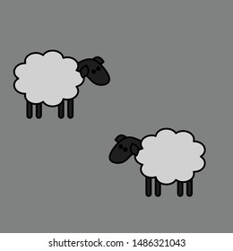 Vector black and white sheep icons / bubbles