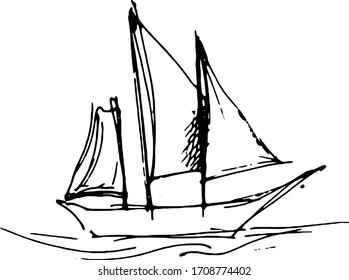 Vector black and white ship, based on hand drawn sketches