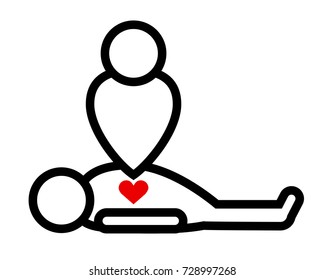 vector black and white sign cardiopulmonary resuscitation