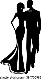 vector black and white silhouette of a couple in love, girl and boy, bride