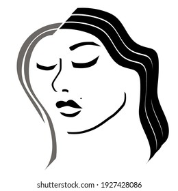 Vector black and white simple girl face