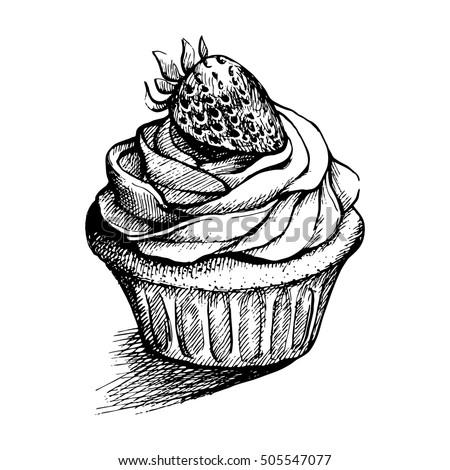 Vector Black White Sketch Illustration Cute Stock Vector Royalty