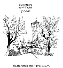 Vector black and white sketch of Western town gate and tower Burgturm and Stadttor in medieval Old Town of Rothenburg ob der Tauber, Bavaria